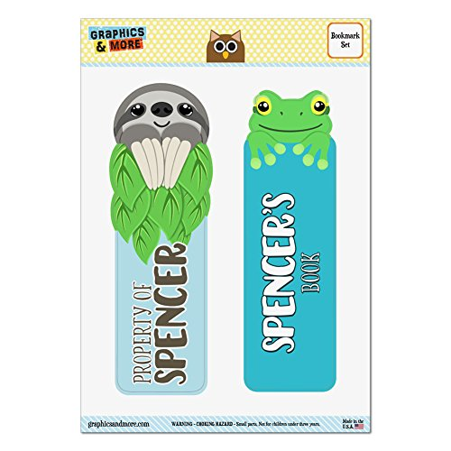 set-of-2-glossy-laminated-sloth-and-frog-bookmarks-names-male-sh-sy-spencer