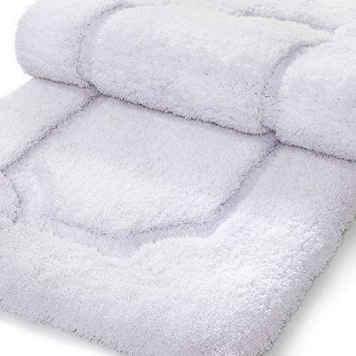 Lifewit Bathroom Runner Rugs Microfiber Runner Laundry Room Machine Washable Soft Absorbent Spa Bath Tub Mat Shower Rug White 17''x47'' by Lifewit