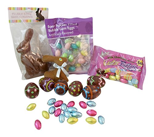 Foil Wrapped Easter Eggs (4 pc Chocolate Rabbit Candy Bundle includes: Fillable Bunny Container, Chocolate look Fillable Easter Eggs, Foil Wrapped Chocolate Eggs, Stuffed Animal Chocolate Bunny Bubble Gum Easter Eggs)