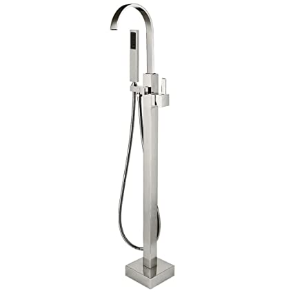 Phasat Brass Waterfall Free Standing Bathtub Faucet Floor Mounted