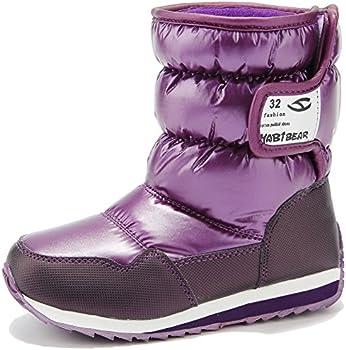 HOBIBEAR Kids Winter Snow Waterproof Outdoor Warm Faux Fur Lined Shoes