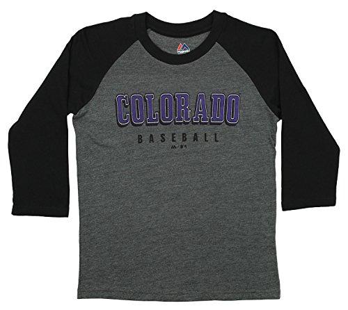 Outerstuff MLB Youth's Baseball Academy 3/4 Sleeve Raglan Tee, Colorado Rockies X-Large -