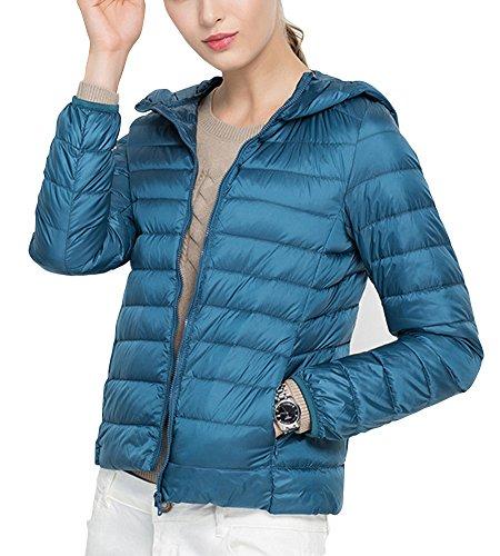 A Capuche Doudoune d'hiver Chaude Paon Veste Bleu Courte Sport Femme Blouson pwOx15Cqd