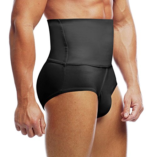 Body Shaping Support (Haseil Men's Slimming Body Shaper High waist Abdomen Tummy Control Shaping Brief, Black, TagsizeXL=UssizeM)