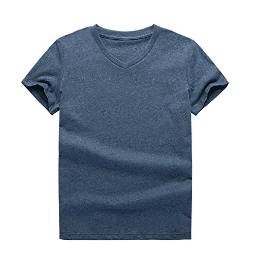 UNACOO 2 Packs 100% Cotton Short-Sleeve V-Neck T-Shirt for Boys and Girls(red+Hemp Blue, m(7-8T)) by UNACOO (Image #1)