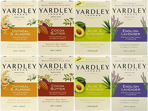 (Yardley Moisturizing Bath Bar Soap Combo, 2 Bars of each Scent, Total 8 Bars)