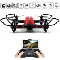 Racing Drone, FLYTEC T18D Wifi FPV Quadcopter with 720p HD Integrated Camera Live Video with App-Controlled RC Quadcopter 2.4GHz 6-Axis Gyro & Auto Return VR Ready Indoor-Outdoor Drones for Kids(Red)