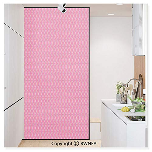 Window Film No Glue Glass Sticker Circular Shapes with Flower Petal Motifs Repeating Spring Themed Pattern Static Cling Privacy Decor for Kitchen Bathroom 17.7x59.8inches,Pink Silver Yellow