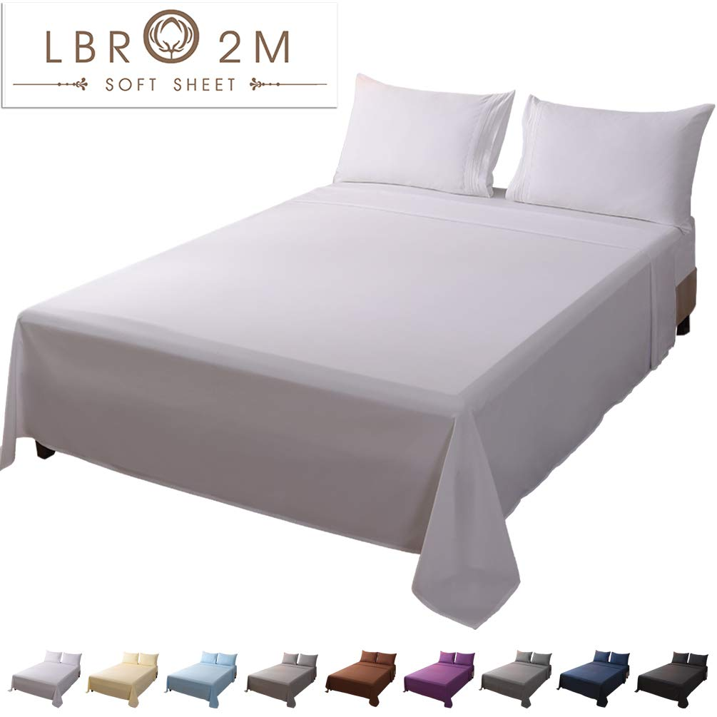 LBRO2M Bed Sheet Set Full Size 16 Inches Deep Pocket 1800 Thread Count 100% Microfiber Sheet,Bedding Super Soft Comforterble Hypoallergenic Breathable, Resistant Fade Wrinkle Cool Warm,4 Piece (White)
