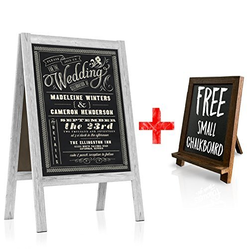 (Chalkboard Wedding Sign - Large A Frame Standing Sidewalk | Vintage Sandwich Board Style with Rustic White Wood A-Frame for Indoor & Outdoor Use | Restaurant Menus, Cafe Specials, Business Displays)