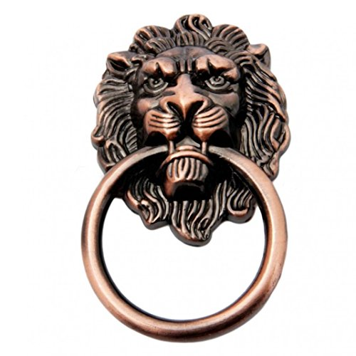 Brass Small Lion Head Knob - Vintage Retro Style Lion Head Antique Door Pull Knobs Handles Cabinet Drawer Cupboard Chest Dresser Ring Pull Replacement Handles with Screws (Antique Brass)