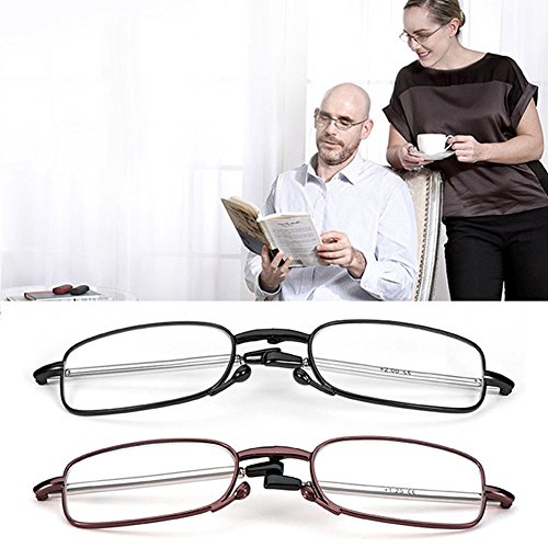 Amrka Portable Fashion Folding Reading Glasses Presbyopic Glasses Adjustable Hinge Rotation Eyeglass +1.5 +2.0 +2.5 +3.0 for Old People (+2.50, Black)