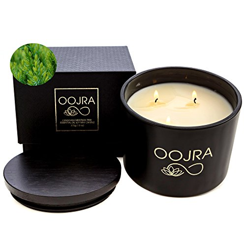 Oojra Essential Oil Canadian Christmas Tree Scented Soy Wax Luxury Candle 3 Wick 13 Oz  370G  75  Hours With Lid And Gift Box