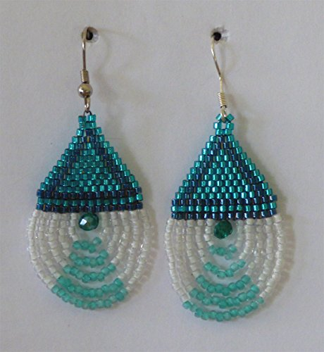 Teal Delica Beads - Aqua Seed Bead Earrings with Teal Crystal and Short Looped White Fringe