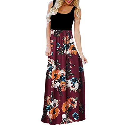 500ff395081 Image Unavailable. Image not available for. Color  LLYWEY Women s Summer  Contrast Sleeveless Tank Top Floral Print Maxi Long Dress Casual Party Beach  Dress