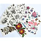 Package include: 10 sheet of temporary tattoos.Fantastic value pack most popular designs10 Individual tattoos as picturedEasy to apply, just add waterSuitable for ages 5+Br> How to use? Br>1. Clean and dry the skin completely. Br>2. Cu out the design...