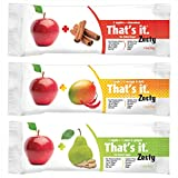 That's It Fruit Bar Zesty, Variety 12 Pack, (3 Flavors)( Apple+Pear&Ginger, Apple+Mango&Chili,Apple+Cinnamon)