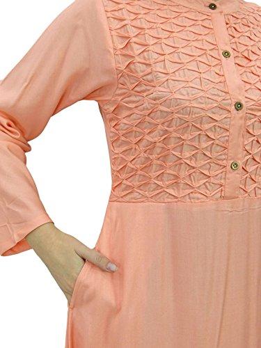 Bimba Damen Mandarin Kragen Plain Jilbab Kleid Mit Taschen Full Sleeve Maxi Pfirsich H0ldMuOBGk