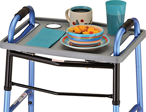 NOVA Walker Tray, Food Tray with 2 Cup Holders for Folding Walker, Uni