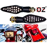 Motorcycle Turn Signal OZ-USA Amber LED Light Front & Rear Dual Intensity Smoke Lens 12 Volts Universal Blinker