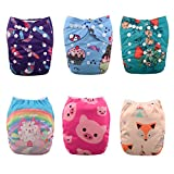 ALVABABY Reuseable Washable Pocket Cloth Diapers Nappies 6 PCS+ 12 Inserts 6DM19