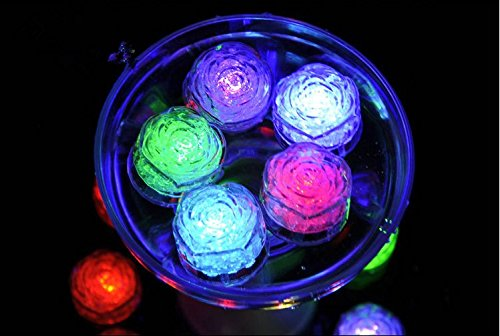 URTop 12Pcs Water Sensor Multi Colors Changing Blinking Flashing Rose Flower Shape Led Ice Cubes Event Party LED Luminous For Wedding Club Bar Drink KTV Decoration]()