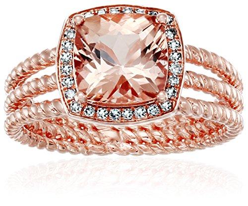 10k Rose Gold AAA Morganite And Diamond Cushion Halo Enga...
