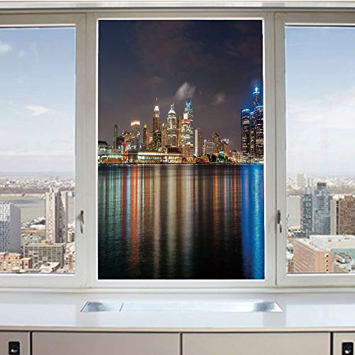 3D Decorative Privacy Window Films,Modern Metropolis Cityscape at Night Time Detroit River Colorful Reflection Decorative,No-Glue Self Static Cling Glass Film for Home Bedroom Bathroom Kitchen Office