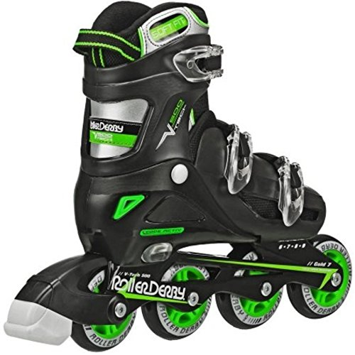 Roller Skates Men's V-Tech 500 Button Adjustable Inline Skate, Black/Green