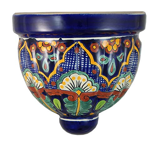 (Mexican Talavera Wall Planter Handmade Hand Painted Pottery Planter Wall Hanging Sconce Planter # 06)