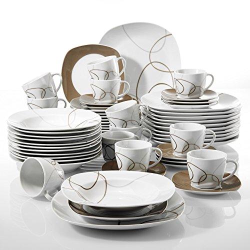 cbad79b188b20 Best buy VEWEET 60-Piece Porcelain Dinnerware Set Brown Lines Patterns Plate  Sets Stoneware