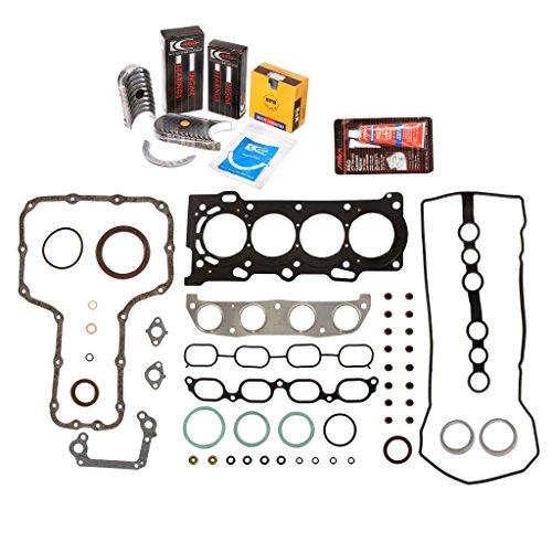 Evergreen Engine Rering Kit FSBRR2024\2\0\0 Fits 99-08 Chevrolet Toyota Celica Corolla 2.4 1ZZFE Full Gasket Set, Standard Size Main Rod Bearings, 0.50mm / 0.020