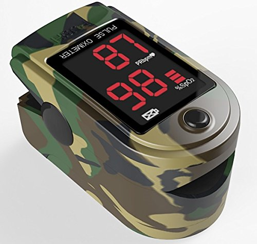FaceLake FL420 Pulse Oximeter Camo, Carrying Case, Batteries, and Lanyard Included by Facelake