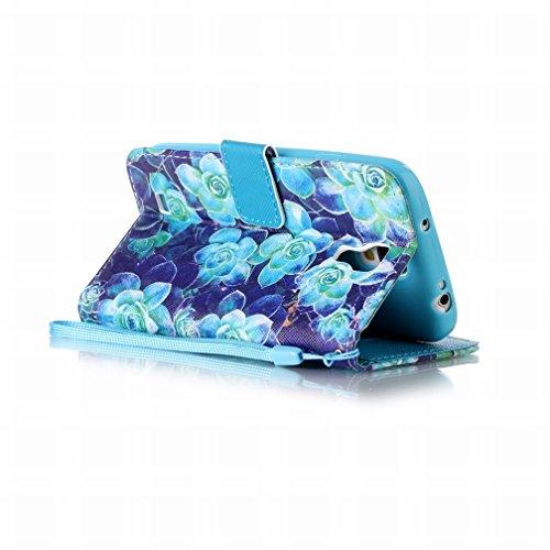 Yiizy Samsung I9500 Galaxy S4 Funda, Blue Rose Diseño Solapa Flip Billetera Carcasa Tapa Estuches Premium PU Cuero Cover Cáscara Bumper Protector Slim Piel Shell Case Stand Ranura para Tarjetas Estilo