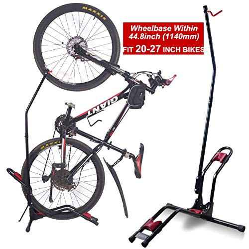 - Dinsam Top Vertical Bike Rack Floor Stand, Indoor Bicycle Storage Mount, Bike Floor Stand - Fits Nearly All Standard Bikes & Frees 4 Feet of Floor Space ... (FIT 20-27 Inch Bikes)