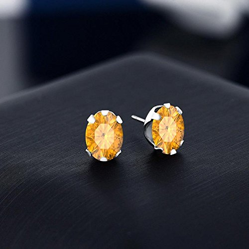 Dabangjewels Solitaire 5x7mm Oval Cut Created Citrine Stud Earrings For Womens /& Girls