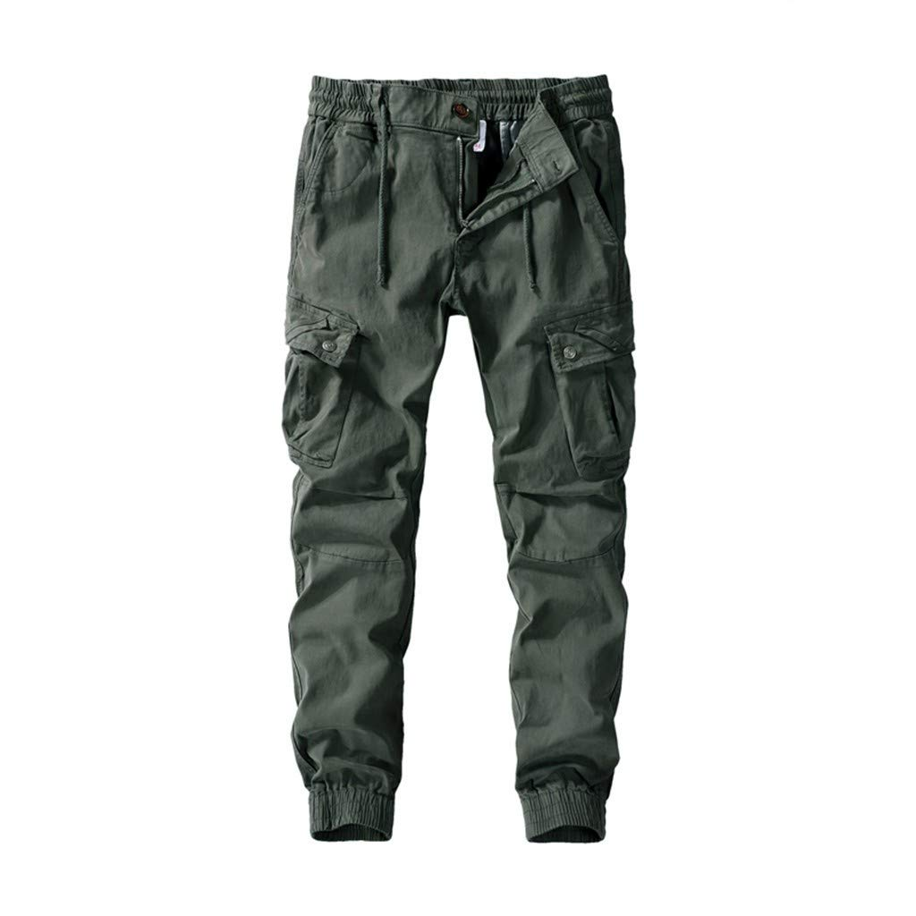 Fashion Men's Solid Color Casual Pants Wash Pocket Tooling Trousers Classic-Fit Army Green