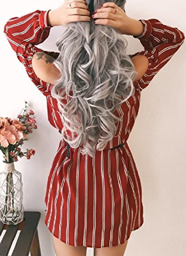 Sleeve A Dress Off Long Sexy Shoulder Stripe Red Party Line Jaycargogo Women 6q0EYqv