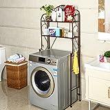 Iron Shelf Shelf Bathroom Washing Machine Shelf Balcony Floor Type Toilet Storage Rack-2 Layer ( Color : Bronze )