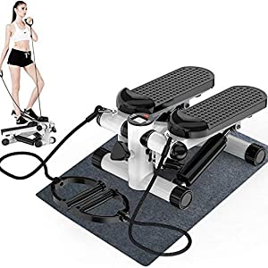 RICA-J Mini Fitness Stair Stepper Air Climber Hydraulic Mute Step Machine with Resistance Bands