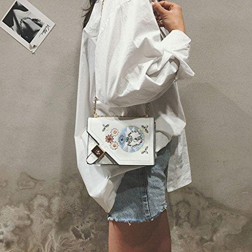 donna a da Messenger Colore Bag Portafoglio nero bianco Bianco Borsa donna Borsa catena Ricamo PU da a tracolla leggero bianco estiva Borsa Mini 75w6dWqw