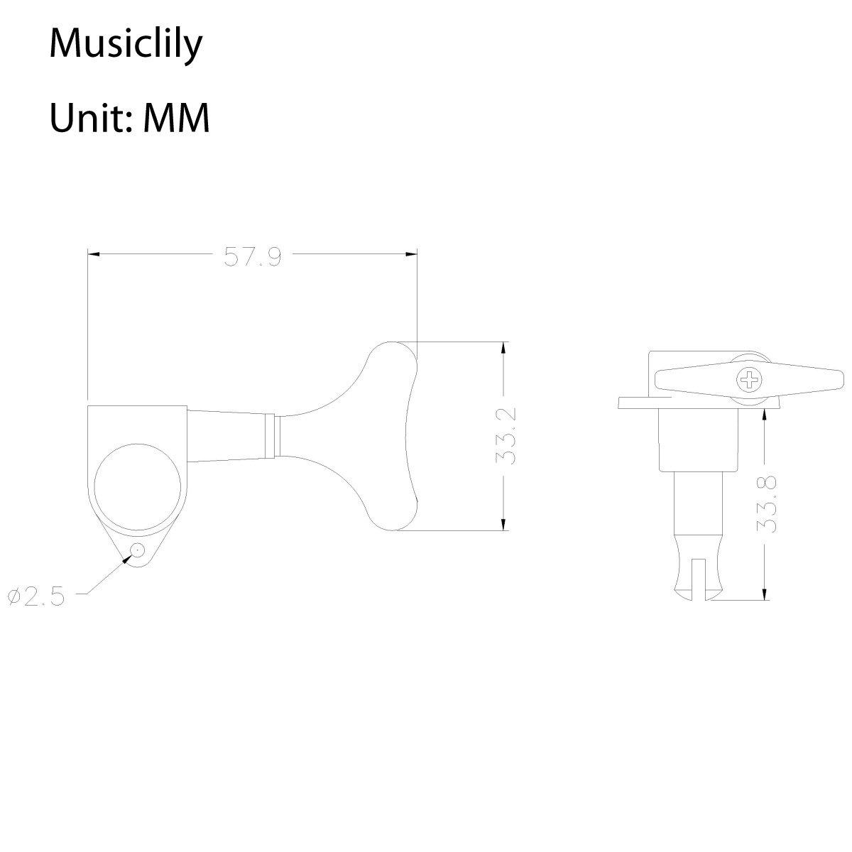 Musiclily 3+3 Tipo Cerrado Set de Clavijas de Afinaci/ón Clavijero de Repuesto para Bajo Negro