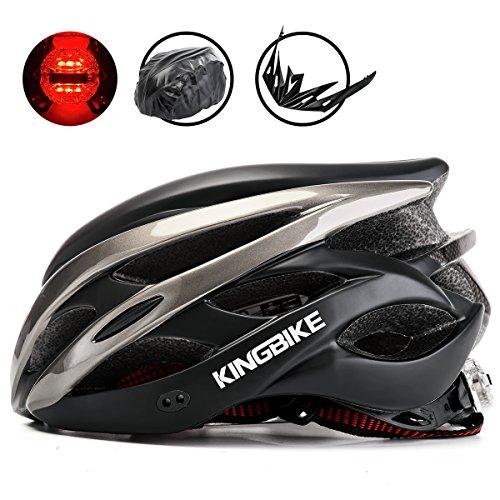 KINGBIKE Adult Bike Helmet Ultralight Bicycle Helmets Rain Cover Safety Rear Led Light Visor Men Women Road Cycling Biking (Black&Titanium, L/XL(59-63CM))