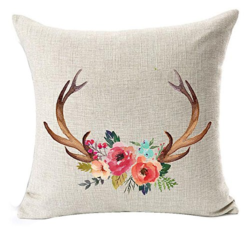 Nordic Southeast Asian Ethnic Style Colorful Beautiful Flowers Bucks Antlers Cotton Linen Throw Pillow Case Cushion Cover NEW Home Office Indoor Decorative Square 18 X 18 Inches