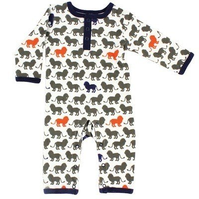 Yoga Sprout Baby Cotton Union Suit, Lion Collection, 3-6 Months
