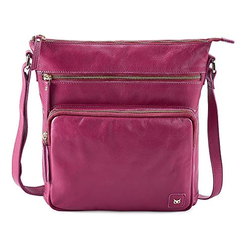 Wise Owl Accessories Women's Leather Crossbody Purses and Handbags for-Premium Crossover Bag Over the Shoulders Fuchsia Pink Nappa