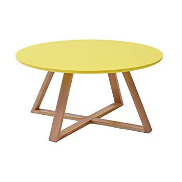Tlmy Table Basse En Bois Massif Simple Table Ronde Moderne
