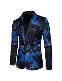 Mr. FF Men's Smoke Print Casual Luxury One Button Blazer Stylish Suit Jacket