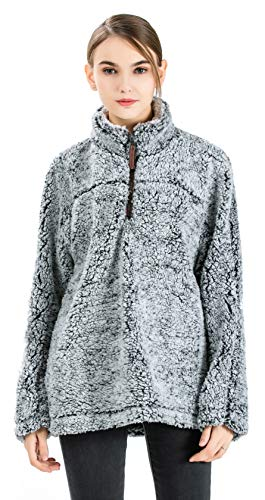- Gyryp Fleece Sherpa Pullover Hoodie Women 1/4 Zip Pullover Frosty Pile Tipped Stadium Sweater,Gray,Medium