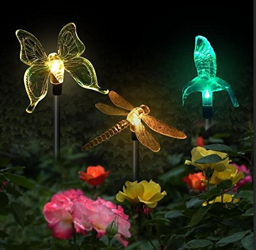 VINSION Garden Lights Garden Solar Lights Outdoor Multi-color Changing LED Hummingbird, Dragonfly, Butterfly Lights,with a White LED Light Stake for Garden Decorations (Hummingbird Garden Stake)